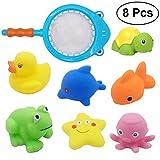 TOYMYTOY Badespielzeug Angeln mit Schwimmende Wasserspritzte Meerestire Spielzeug Fischernetz für Wasserspiel Badespaßzeit 8 stücke