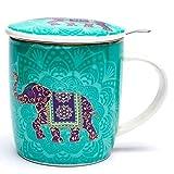 Caja de Regalo con Juego de Taza de Té con Infusor, Color Turquesa con Decoración de Elefante Indio con Mándala