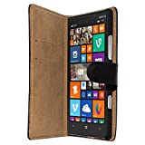 Slabo Flip Hülle Cover in Bookstyle für Nokia Lumia 930 - ECHT Leder - schwarz | Black