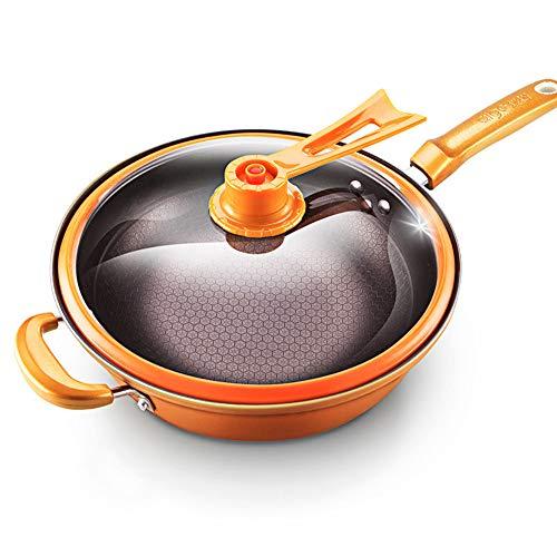 WONOOS Wok Antihaft-Pfanne No-Smoke Eisenpfanne Haushalt Cooker Universal-Pan Küche, für Direct Fire Induktions-Herd Gasherd (32 Zoll mit Deckel)