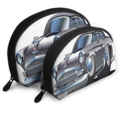 Schalenform Make-up Bag Set Tragbare Geldbörse Reise Kosmetiktasche, Retro inspiriertes Autodesign mit asymmetrischen Reifen Schnelle Auto-Geschwindigkeit Cooles Logo, Damen-Toilettenartikel-Clutch