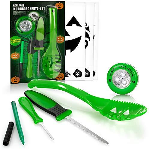 COM-FOUR® Juego de tallado de calabazas de 14 piezas para Halloween - Herramientas de corte para ahuecar calabazas - Kit calabaza de Halloween (verde con LED)