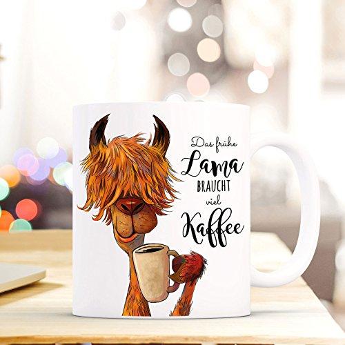 ilka parey wandtattoo-welt Tasse Becher Lama mit Spruch das frühe Lama braucht viel Kaffee ts493