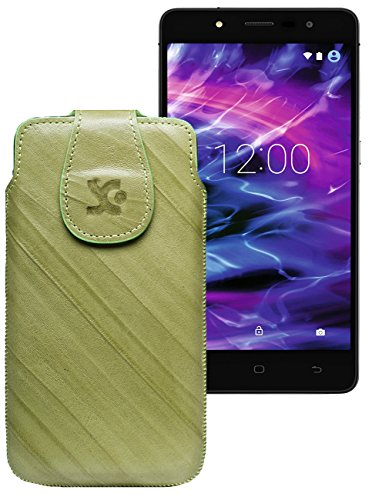 Original Suncase Tasche für MEDION® LIFE® E5005 (MD 99915)   Leder Etui Handytasche Ledertasche Schutzhülle Hülle Hülle / in wash-grün