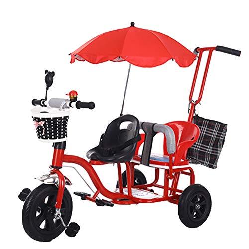 YUMEIGE Trikes Kids driewieler Tweelingen Stoel Baby Kinderwagen 1-6 Jaar Oude Verjaardagscadeau Kids Kinderwagens Peuter Trike Gewicht 65 Kg (Jongen/meisje) Rood