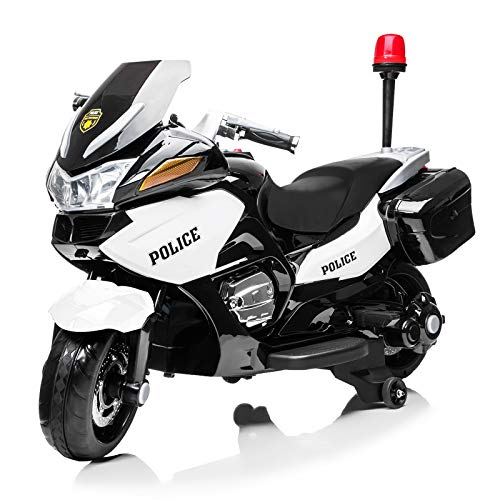 BAHOM Kids 12V 7A Police Ride On Motorcycle with Training Wheels, Electric Toy for Boys Girls, Headlights, Siren Sound, Music, 3~8 Year Old (Black)