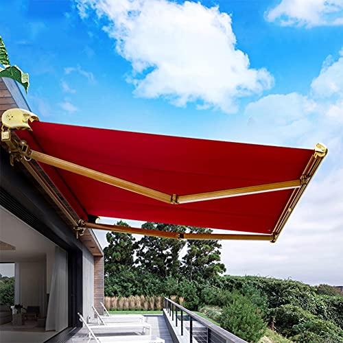 HBIAO Toldo para Patio Toldo eléctrico Tejido acrílico Medio Casete retráctil Toldo para Patio Rojo,3 * 1.5m