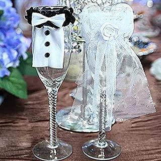 Decorative Decorative - 2 Pcs Cup Decor Bride Groom Tux Bridal Veil Wedding Party Toasting Wine Glasses Beautiful Home - Purple Home Decorations Party Black Decor Silver Bride Rose Decorat