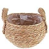 HEMOTON Canasta para Jardinera: Hecha de Pasto Marino Natural Maceta Redonda para Flores/Canasta de Almacenamiento Revestimiento de Plástico
