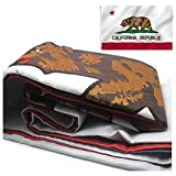 VSVO California Flag 3x5ft. - 2 Pcs Embroidered CA Republic Bear State Flags Stitched Together for Outdoor Use - Durable 300D Nylon - Sewn Stripes - UV Protection - Brass Grommets