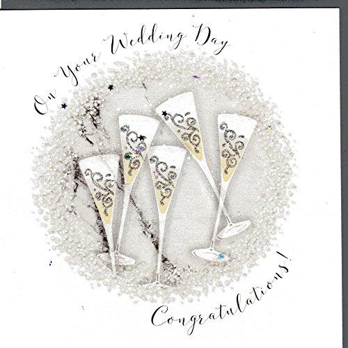 Wendy Jones-Blackett Glückwunschkarte zur Hochzeit veredelt mit Kristallen und Glitter. Eine sehr hochwertige und originelle Hochzeitskarte, auch für Geschenkgutschein oder Geldgeschenk. WP065