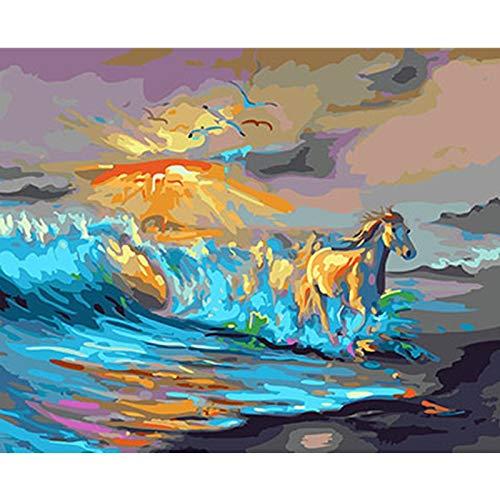 wtnhz Kein Rahmen 5d Diamant Kreuzstich Stickerei komplette Anleitung zu Acrylfarben Goodfellas Pferde d Ölbilder auf Leinwand 30x40cm