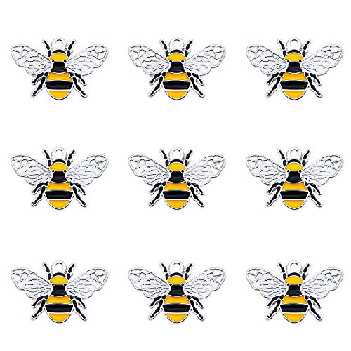 Pack of (x16) Silver Alloy Oil Drip Enamel Charms Honey Bee Craft for DIY Jewellery Making Bracelets Earrings Necklaces Pendants Accessories Approx.26x17mm
