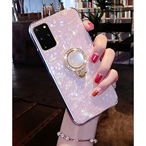 KC Glitter Dream Shell Pearl Design Stand Ring Holder Soft Smooth Silicone Semi Transparent Back Cover for Samsung Galaxy S20 Plus (Pink Gold)