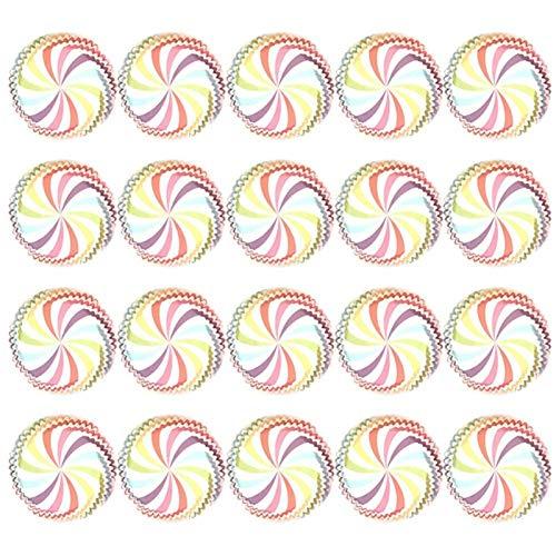 Muffin Party Bandeja Soportes Soportes Cajas de Magdalena Lineros Fiesta de boda Cocina Hornear 100 PCS Rainbow Papel Pastel Taza Papel de cupcake,Decoraciones de la boda (Color : Colorful bar)