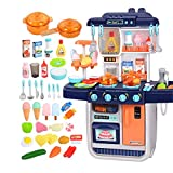 LiChaoWen Tragbare Kinder Küche Spielset Pretend Kochen Spielzeug mit Kocheffekt for Junge Mädchen Küchenspielset (Color : Blue, Size : 54.5x26x70cm)