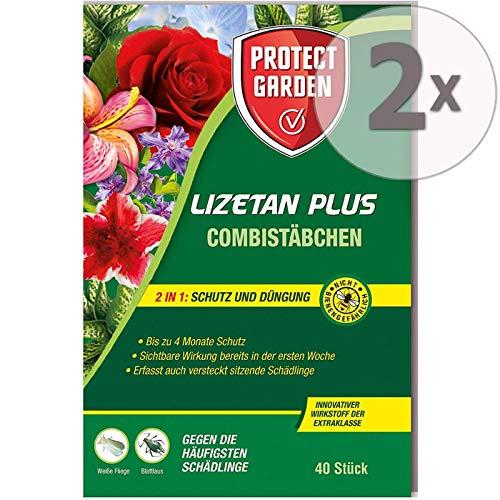 Protect Garden Lizetan Plus Combistäbchen Schädlingsfrei, 2in1 Schutz und Düngung, Sparpack 2 x 40 Stück Plus Zeckenzange mit Lupe