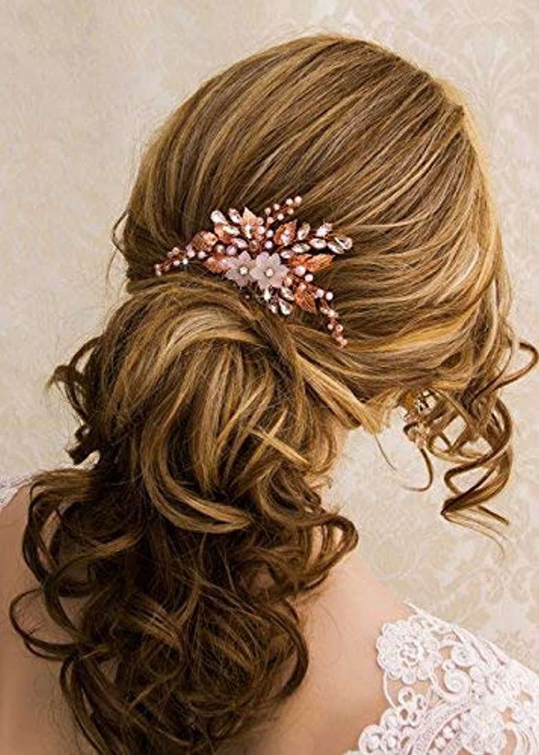 Kercisbeauty Wedding Rose Gold Hair Comb with Pink Pearl Earrings Set for Bride Bridesmaid Headpiece Prom Hair Accessory(Rose Gold) [並行輸入品]
