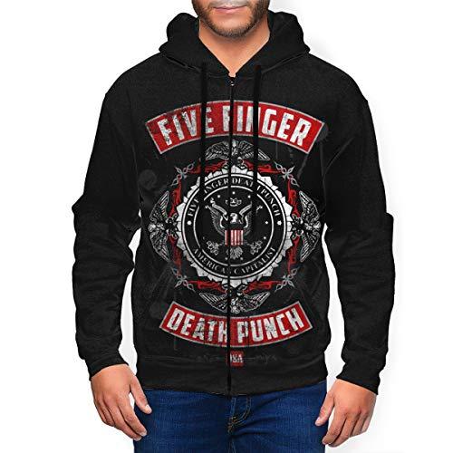 8HPP5OTNNE Men's Hoodie with Hat Five Finger Handsome Death Punch Full-Zip Sweatshirt Sport Hoodies Youth Pocket Fleece 3XL Black