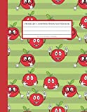 Primary Composition Notebook: Primary Story Journal Grades K2 with Dotted Midline and Picture Space (Red Apple)