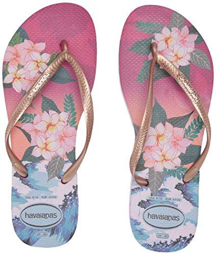 Havaianas Women's Slim Tropical Sunset Flip Flop Sandal, Hollywood Rose, 7/8 M US