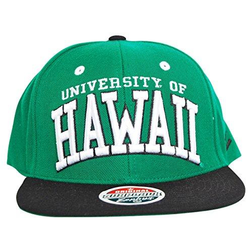 NCAA Zephyr Hawaii Rainbow Warriors Mens Superstar Snapback Hat, Adjustable, Kelly Green