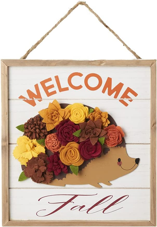 Eternhome Welcome Fall Sign Cute Flower Hedgehog Décor Wood Thanksgiving Hanging Sign Vintage Harvest Festive Home Decoration Rustic Halloween Autumn Front Door Décor