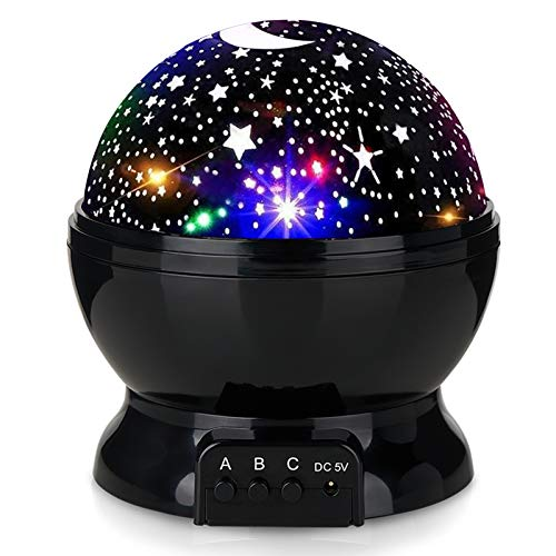 Kids Star Night Light, 360-Degree Rotating Star Projector, Desk Lamp 4 LEDs 8 Colors Changing with USB Cable, Best for Children Baby Bedroom and Party Decorations - Black