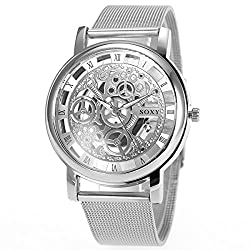 SIBOSUN Men's Watches with Skeleton Face Wrist Watch for Men Silver Mesh Stainless Steel Band Quartz