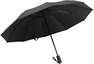 Umbrella Windproof, Travel Umbrella with Teflon Coating, 10 Ribs Auto Open & Close Folding Umbrella, Portable Reverse Umbrellas with UV Protection (Black)