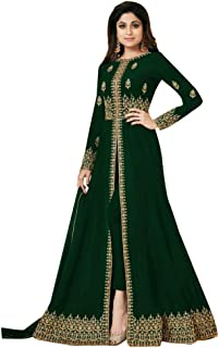 Green Front Split Pant style Anarkali Designer Georgette Semi-stitched Salwar Suit Ethnic Indian women dress 7640
