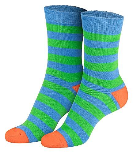 Piarini 2 Paar Kindersocken geringelt bunt Vollfrottee Jungen Mädchen Weiche Kinderstrümpfe Kids Boys Girls Socks grün orange 31 32 33 34