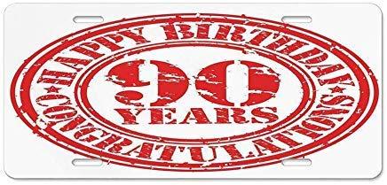 Dant454ty 90th Verjaardag Decoraties, Verouderd Gedateerd Rode Stempel Negentig Jaar Grunge Kijk Gefeliciteerd, Rood Wit Decoratieve Front License Plate Frame,Vanity Tag