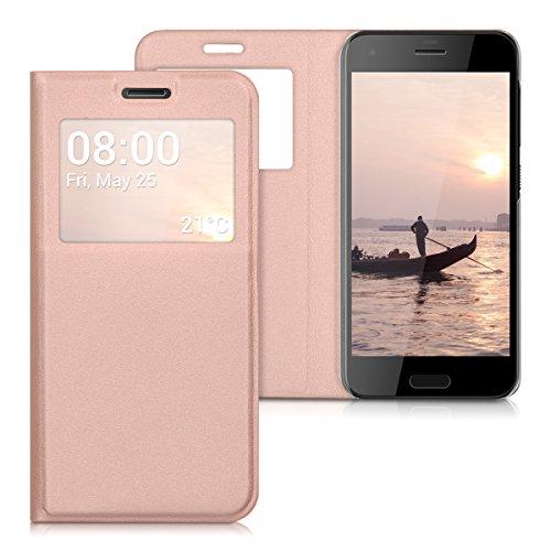 kwmobile Hülle kompatibel mit HTC One A9s - Handyhülle Handy Hülle Schutzhülle Klapphülle in Rosegold