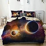 Juego de funda nórdica beige, planeta en la Vía Láctea, nebulosa oscura, nube de gas, eclipse solar celestial, tema de galaxia, juego de cama decorativo de 3 piezas con 2 fundas de almohada, fácil cui