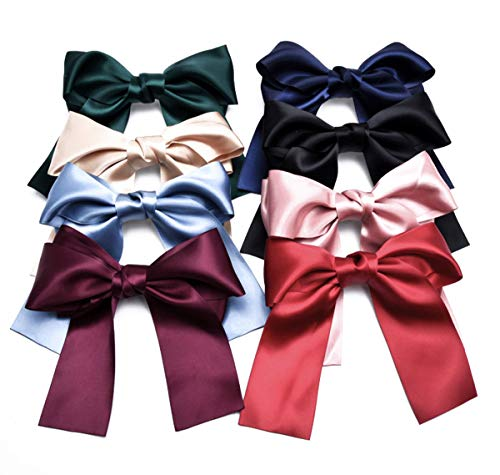 Set of 8 Big Satin Solid Ribbon French Barrette Large Big Huge Soft Silky Hair Bow Clip Bow Hair Clips Women Barrettes