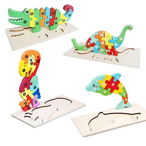 Jooheli 3D Puzzle de Madera, 4 Piezas Juego de Regalo Puzzles de Madera, Juguete Educativo para iños 3-6 Años de Preescolar Juguetes, Preescolar Bebes Regalos de Cumpleaños/Navidad