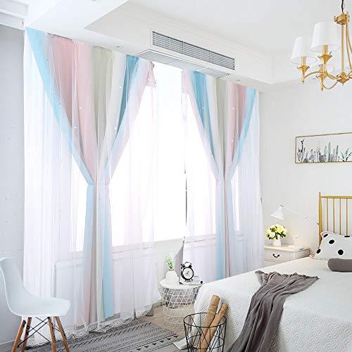 Vorhang Blickdicht Verdunkelungsvorhänge Sterne Gardinen Doppelschicht Sternenvorhänge mit Voile Vorhänge für Mädchen Schlafzimmer Wohnzimmer Kinderzimmer, 2 Stück (Regenbogen, B130 x H 160 cm)