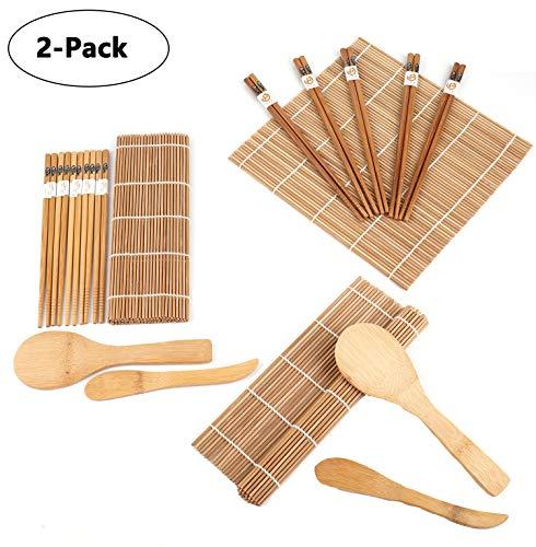 Lawei Juego para hacer sushi de bambú (2 unidades, incluye 4 alfombrillas de bambú para sushi, 10 pares de palillos, 2 pala de arroz, 2 separador de arroz, 100{e17cfa89d1e3b4fa251f76a099a38bcb9197a5aa11d3613191b87351fe7ac72e} bambú y utensilios de uso)
