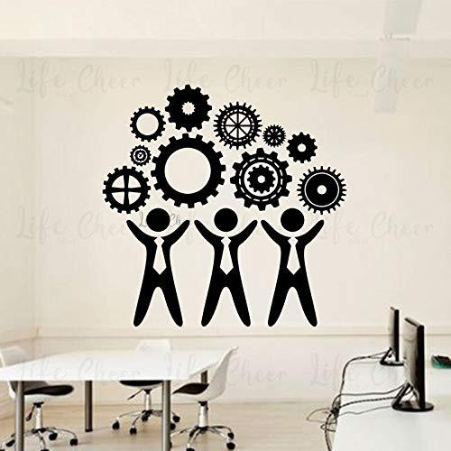 Adhesivos Pared Equipo de trabajo en equipo, calcomanía de vinilo, patrón de engranajes, arte, oficina, motivación, murales de pared, póster de trabajo en equipo de compañero de trabajo 80x80cm