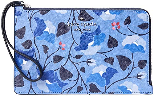 Kate Spade New York Cameron Medium L-Zip Leather Wristlet Pouch Wallet, Nw Bloom