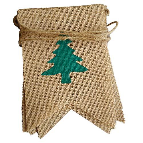 Amosfun feliz navidad arpillera patrón de árbol de navidad banner de navidad bunting guirnalda lino colgante decoración de navidad para el hogar escuela empresa