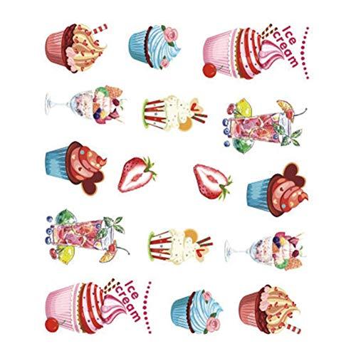 Emorias 5pcs Feuille Autocollants à Ongles Autocollants pour la décoration Série Crème glacée Belle Nail Art Stickers Imperméable(6.2 * 5.5cm)