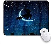 VAMIX マウスパッド 個性的 おしゃれ 柔軟 かわいい ゴム製裏面 ゲーミングマウスパッド PC ノートパソコン オフィス用 デスクマット 滑り止め 耐久性が良い おもしろいパターン (ハロウィンGalaxy Magic Witch Blue Starry Sky moon)