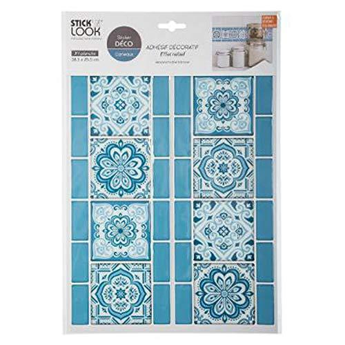 Paris Prix Stick'N Look - Sticker Déco Carrelage 25x38cm Bleu
