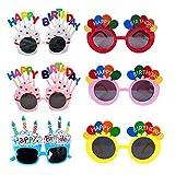 Gafas de Cumpleaños,6 Pares Gafas de Sol de Fiesta de Cumpleaños, Feliz Cumpleaños Anteojos Graciosos, Muy Adecuado para Fiestas de Cumpleaños
