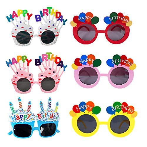 YAVO-EU Occhiali da Compleanno,Buon Compleanno Festa Occhiali novità Candela Occhiali da Sole,Ragazzi Ragazze Regalo di Compleanno Cabina Fotografica Puntelli
