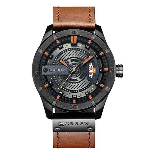 Curren hombres reloj de cuarzo analógico, reloj de pulsera de estilo militar...
