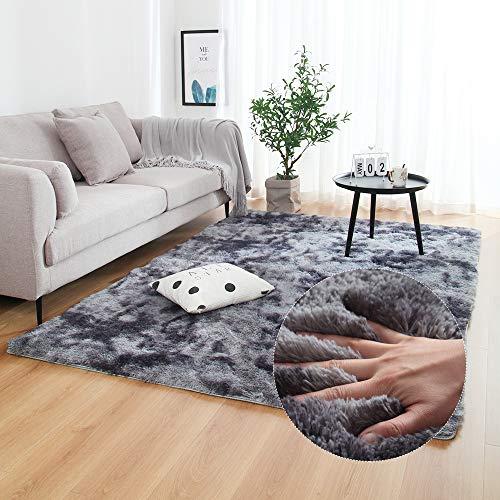 LUCHAO Multisize Dormitorio de absorción de Agua de alfombras Alfombras for la Sala Dormitorio Alfombra Lazo teñido Felpa Suave Alfombras Antideslizante Tapetes (Color : Dark Blue, Talla : 120x200cm)