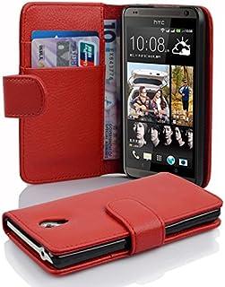 Fodral kompatibelt med HTC Desire 700 i INFERNO RÖD - Skyddsfodral av strukturerat syntetiskt Läder med Stativfunktion och...